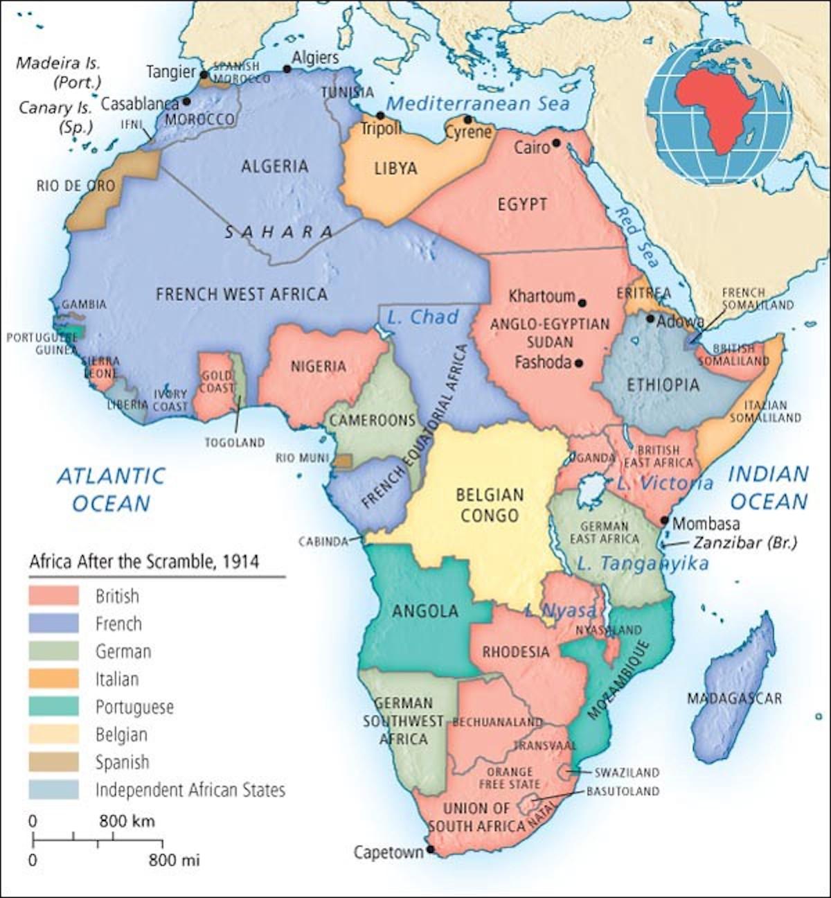 la spartizione coloniale dell'Africa