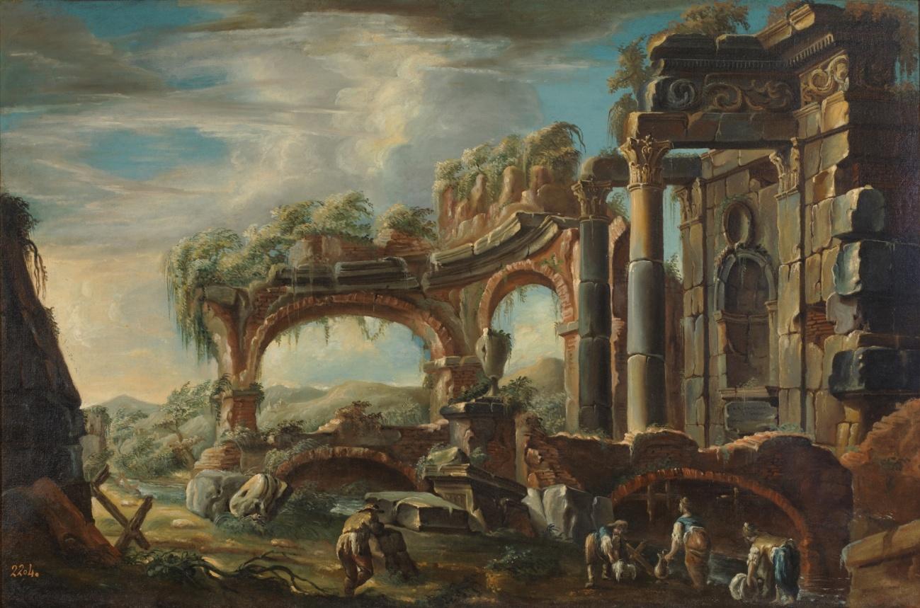 Paisaje con ruinas y figuras, José Carlos de Borbón, XVIII.